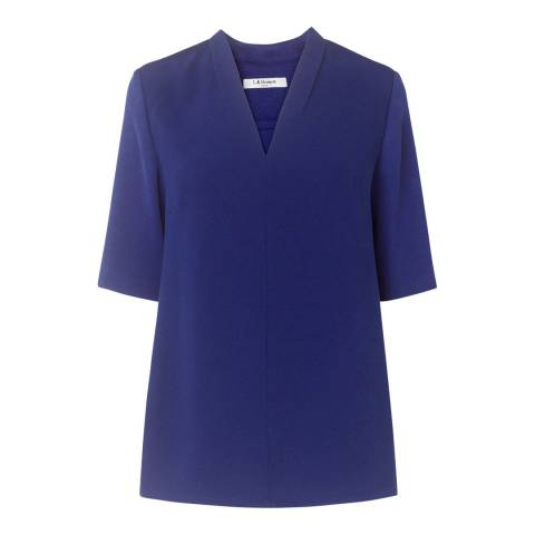 L K Bennett Blue Vesta Pleat Neck Top