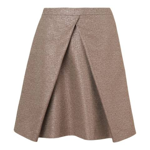 L K Bennett Gold Cerys Pleat Detail A-Line Skirt