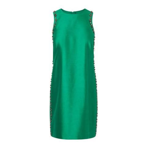 L K Bennett Green Minnie Embellished Dress