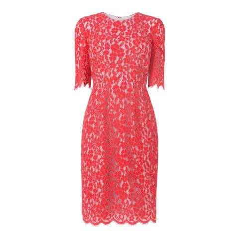 L K Bennett Pink Wardour Lace Overlay Dress