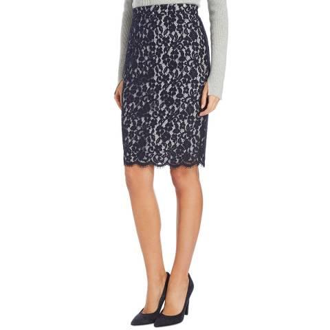 L K Bennett Navy Wardour Lace Skirt