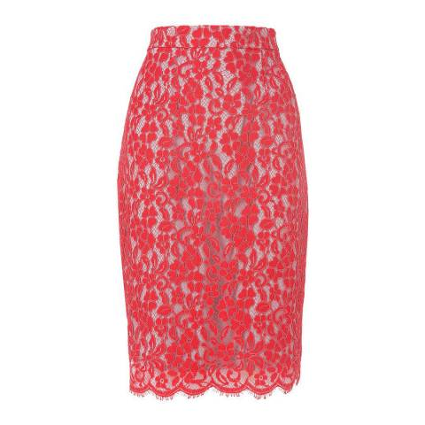 L K Bennett Pink Wardour Lace Overlay Skirt