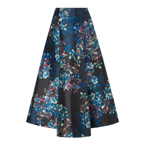 L K Bennett Black Multi Kensal Floral Skirt