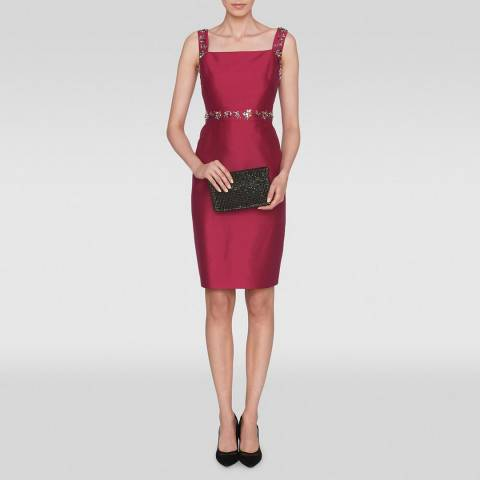L K Bennett Red Kent Embellished Dress