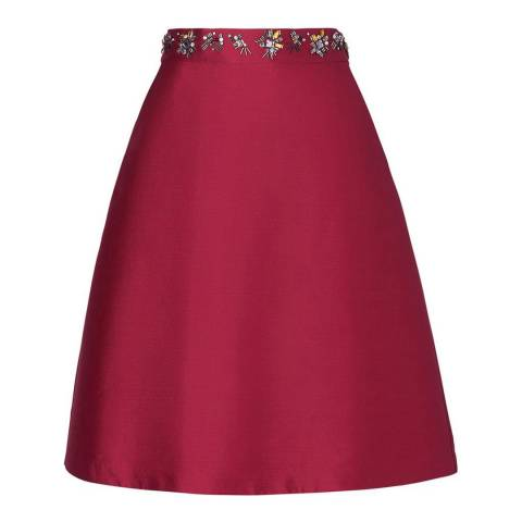 L K Bennett Red Kent Embellished Skirt