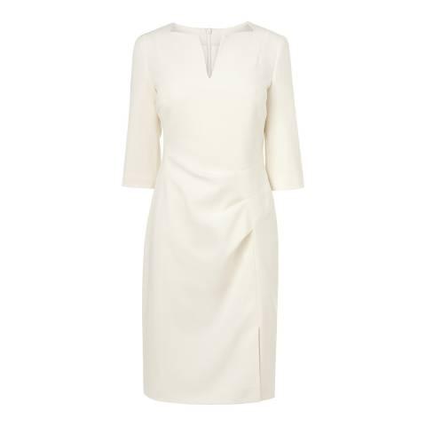 L K Bennett Cream Kiel Pleat Dress