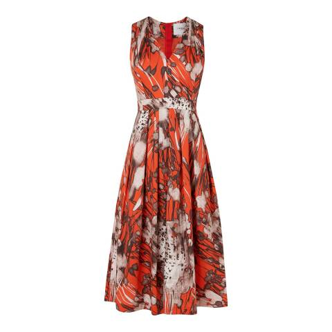 L K Bennett Orange/Multi Cortona Printed Dress