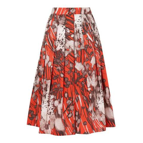 L K Bennett Orange/Multi Cortona Printed Skirt