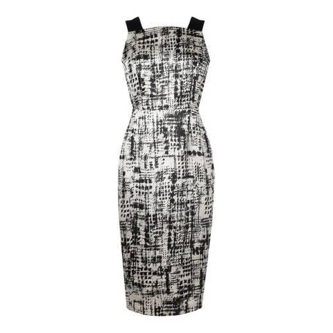 L K Bennett Black/Cream Safari Panel Dress
