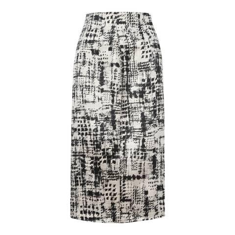 L K Bennett Black/White Safari Jacquard Skirt