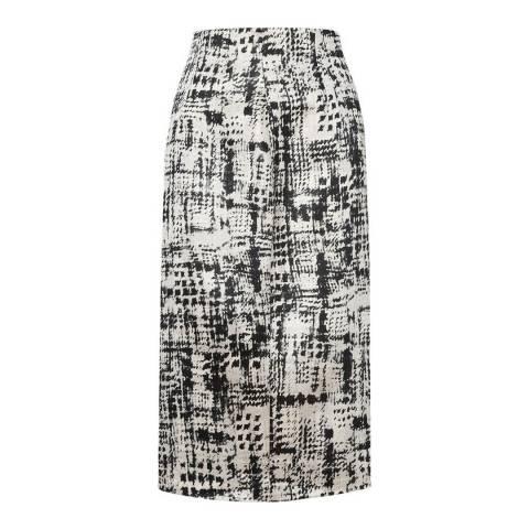 L K Bennett Black/Cream Safari Jacquard Skirt