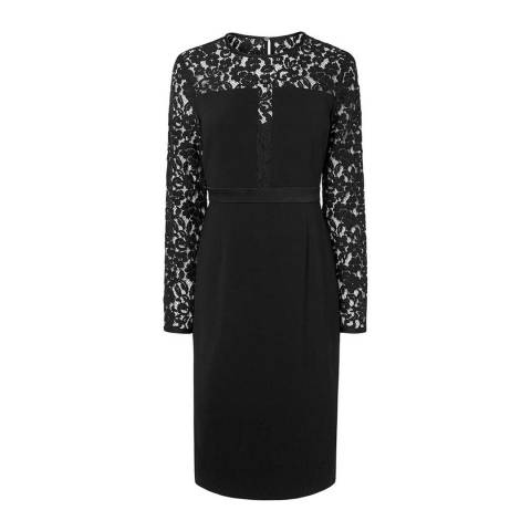 L K Bennett Black Alexine Lace Dress