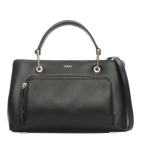 DKNY Black Leather Small Greenwich Satchel