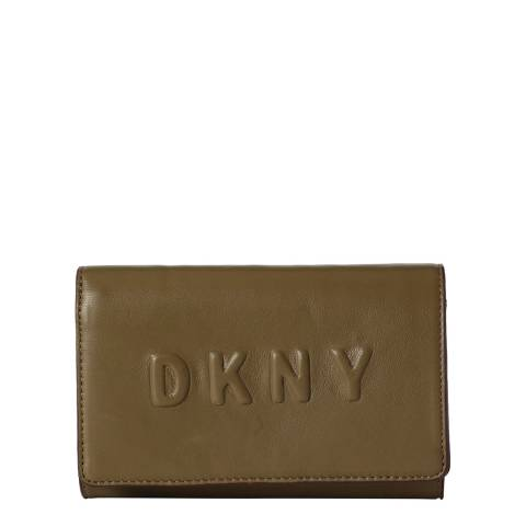 DKNY Khaki Green Leather Debossed Logo Carry All Wallet