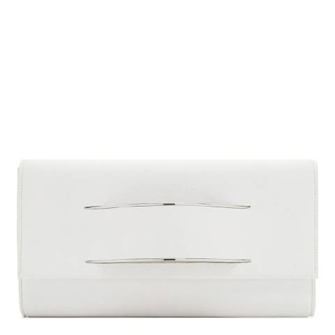 DKNY White Leather Runway Curved Clutch
