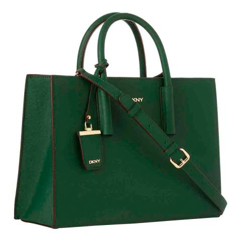 DKNY Green Leather Bryant Park East West Shopper