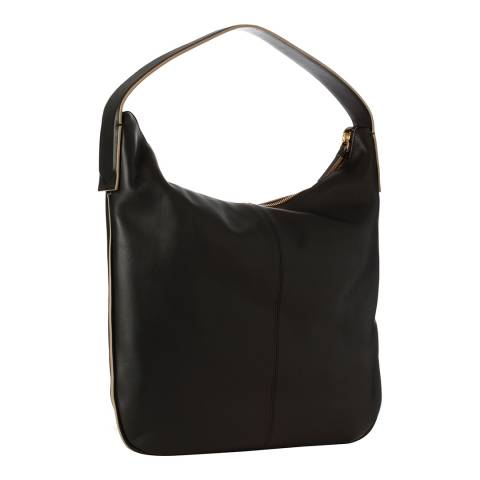 DKNY Black Leather Greenwich Hobo Bag