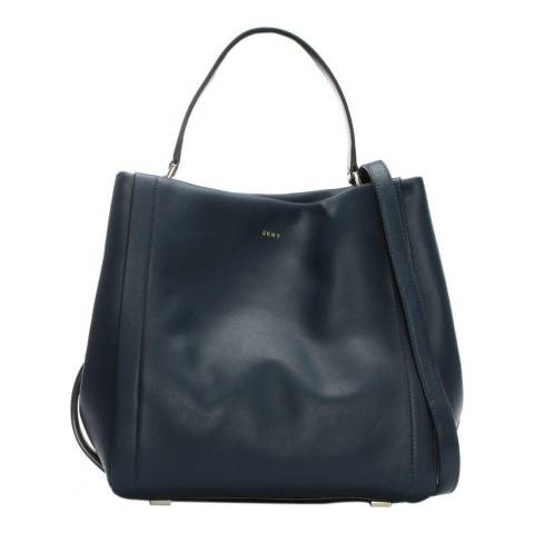 DKNY Navy Leather Greenwich Bucket Bag
