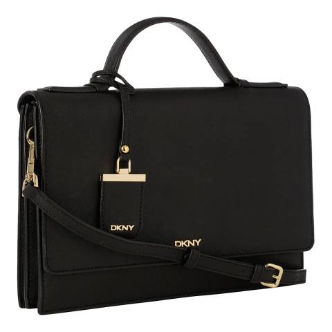 DKNY Black Leather Flap Over Crossbody  Bag