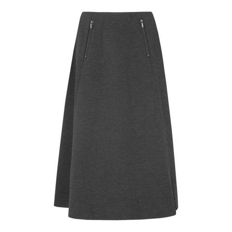 L K Bennett Charcoal Solene Flared Skirt