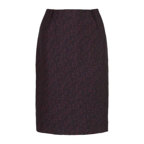L K Bennett Navy Belvis Tweed Skirt