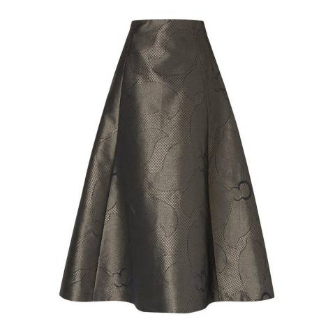 L K Bennett Gold Bianco Metallic Full Skirt