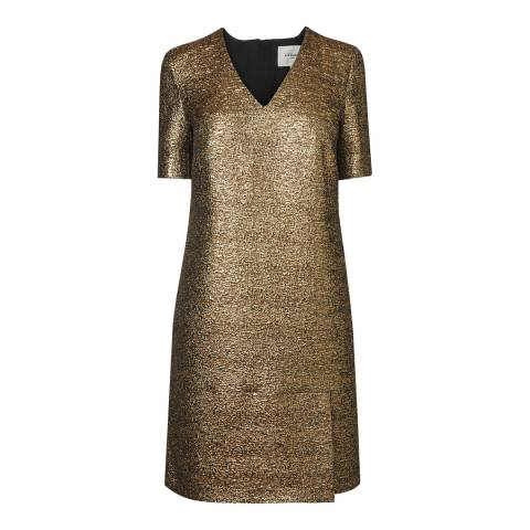 L K Bennett Gold Blake V-Neck Dress