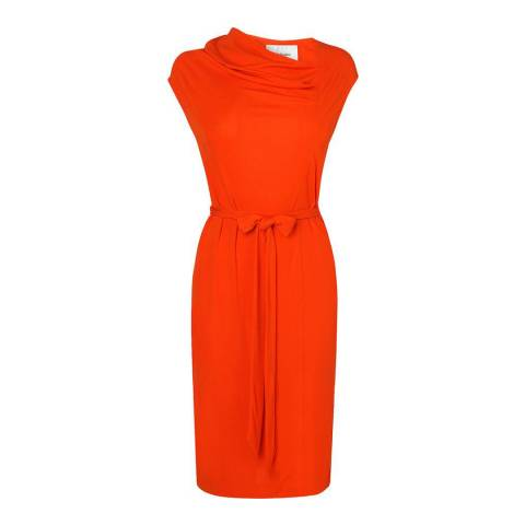 L K Bennett Orange Lyanno Cowl Neck Dress