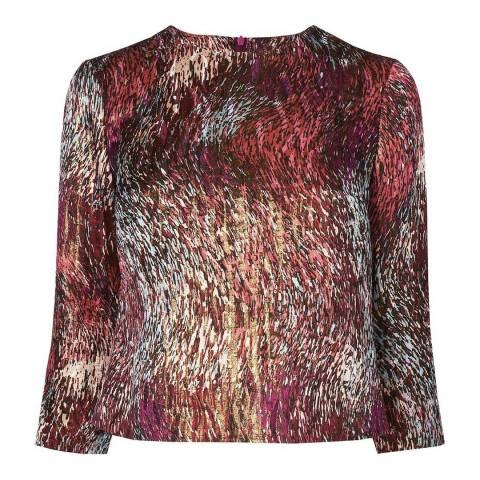 L K Bennett Mulberry Goldino Silk Cropped Top