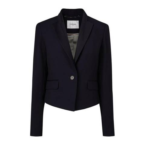 L K Bennett Navy Bostona Satin Back Crepe Jacket
