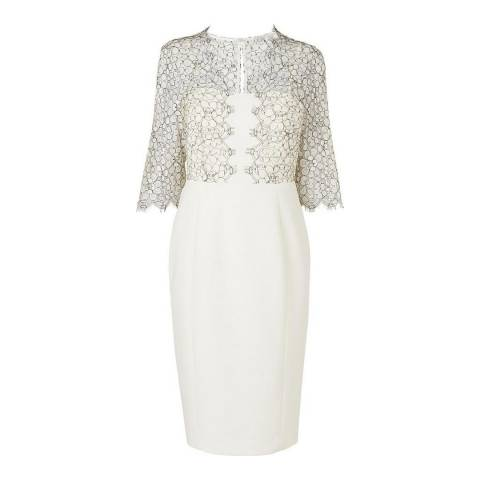 L K Bennett Cream Hattie Lace Trim Dress