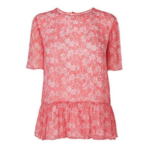 L K Bennett Pink Jaxon Silk Panelled Top