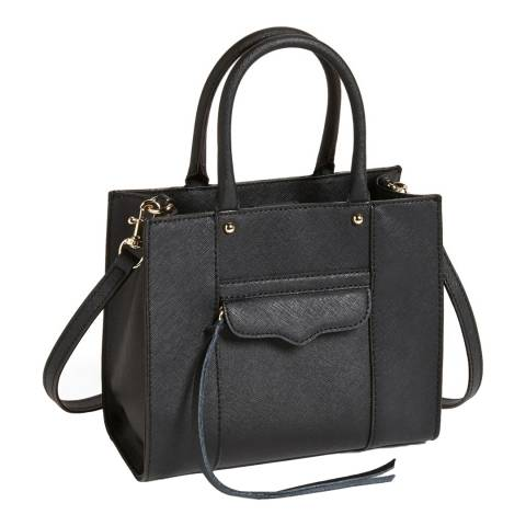 Rebecca Minkoff Black Saffiano Leather Mini M.A.B Tote Bag