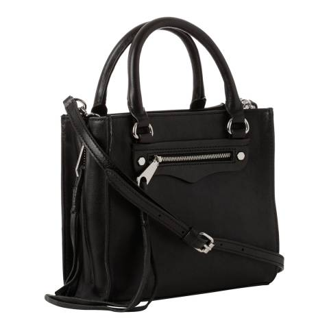 Rebecca Minkoff Black Leather Mini Regan Side Zip Tote Bag