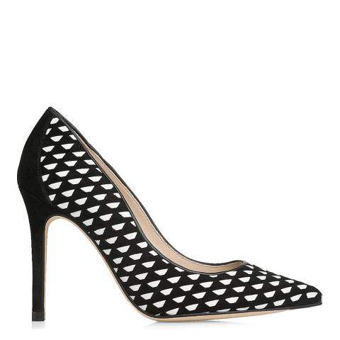 L K Bennett Black And White Suede Blend Inferna Closed Courts