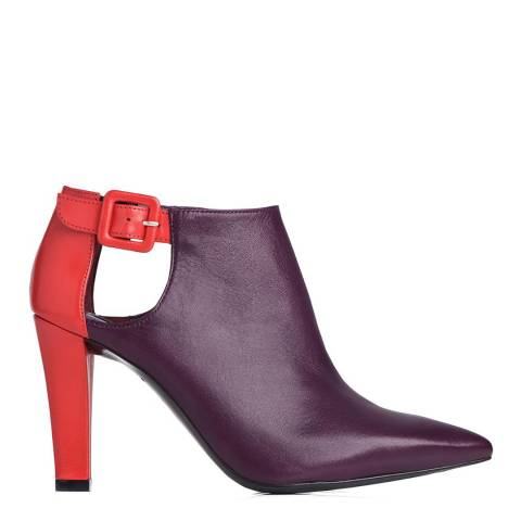 L K Bennett Burgundy/Red Scarlet Leather Ankle Boots