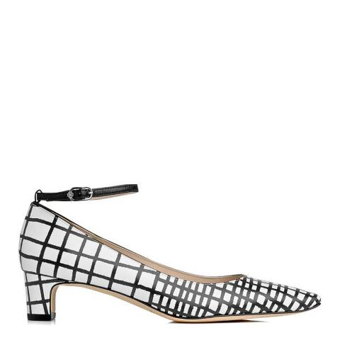 L K Bennett White And Black Pattern Leather Blend Karim Closed Courts