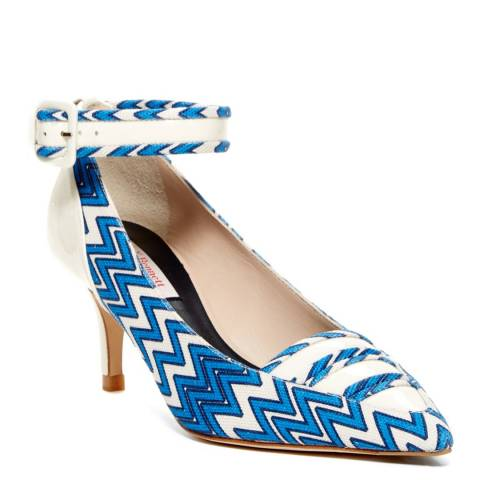 L K Bennett White/Blue Leather Blend Silvana Closed Courts