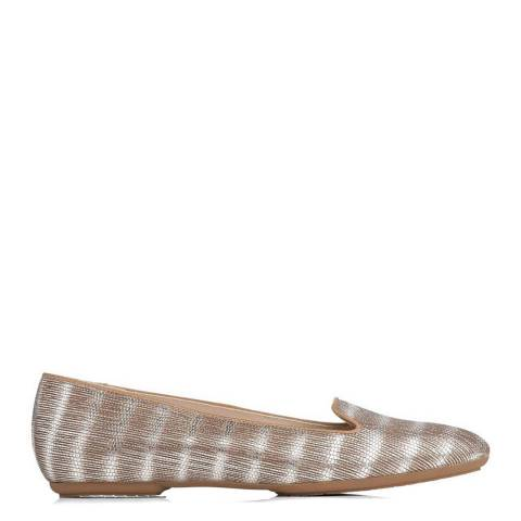 L K Bennett Silver Amy Striped Tejus Effect Loafers