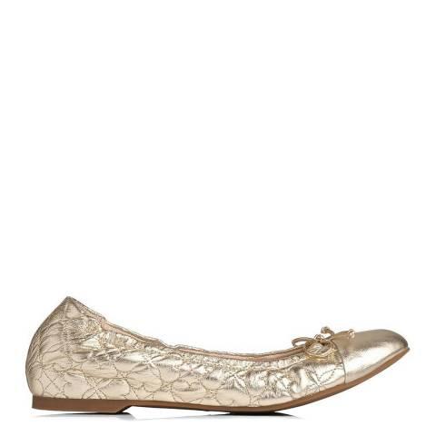L K Bennett Soft Gold Cheri Quilted Ballerina