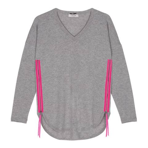 Cocoa Cashmere Grey Zip Side Jumper