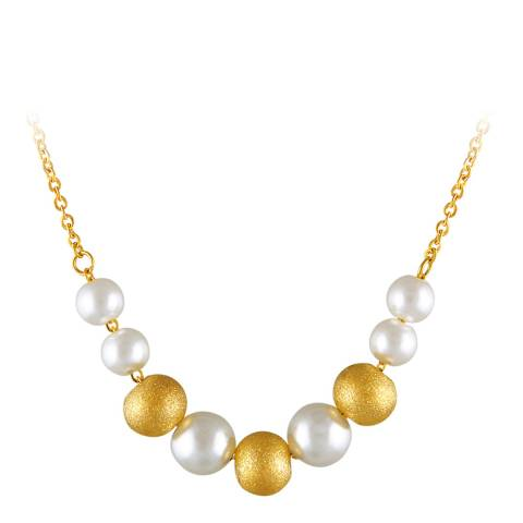 Chloe by Liv Oliver Matte Gold/White Pearl & Gold Necklace