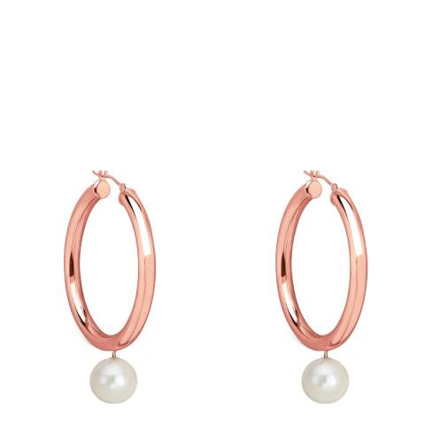 Chloe by Liv Oliver Rose Gold/Turquoise Pearl Drop Hoop Earrings