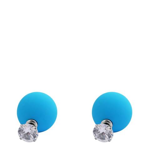 Chloe Collection by Liv Oliver Silver/Turquoise Double Sided Earrings