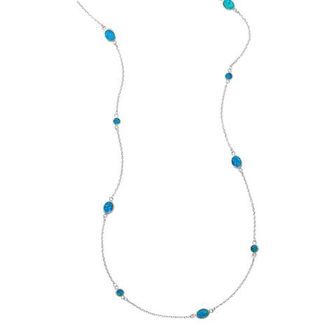 Chloe Collection by Liv Oliver Silver/Blue Opal Necklace