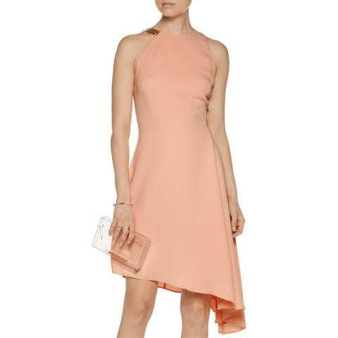 Halston Heritage Pale Pink Glow Asymmetric Cut Out Dress