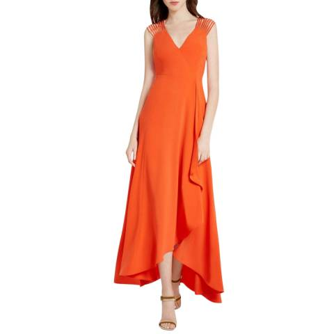 Halston Heritage Orange Multi Strap Crepe Gown