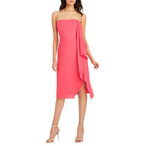Halston Heritage Pink Strapless Crepe Drape Dress