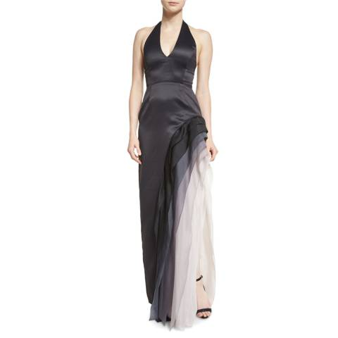 Halston Heritage Black Satin Ombre Chiffon Halter Gown