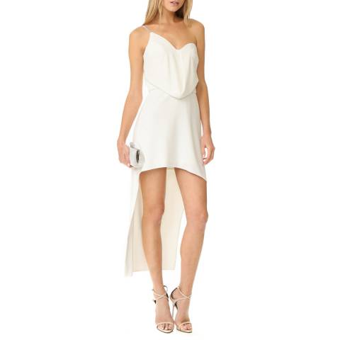 Halston Heritage Chalk White One Shoulder Hi Lo Crepe Dress
